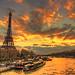Eiffel Tower & River Seine sunset (paint filter)