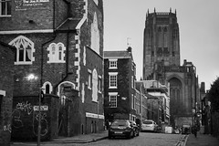 Pilgrim Street, Liverpool (nickcoates74) Tags: a6300 december ilce6300 liverpool merseyside winter liverpoolcathedral uk pilgrimstreet pilgrimst sony e55210mmf4563oss 55210mm sel55210 blackandwhite affinityphoto anglicancathedral