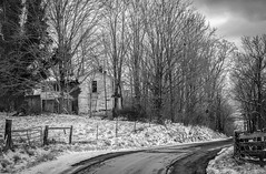Abandoned on Creamery Road (Bob G. Bell) Tags: abandoned abandonedhouse winter snow snowstorm road gate creamery rural blackandwhite bw wv d750 nikon bobbell fence trees