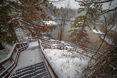 Downward (Notkalvin) Tags: wellston michigan upnorth m55 stairs steps winter wide cold path notkalvin mikekline