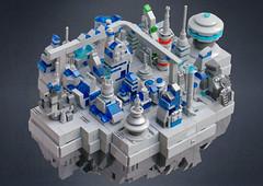 Asteroid base (BensBuilds) Tags: lego moc microscale future futuristic asteroid base space