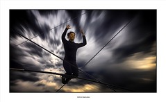 Walking on the wire... (michel di Méglio) Tags: marseille lafriche funambule artiste olympus cirque circus acrobate thightropewalker