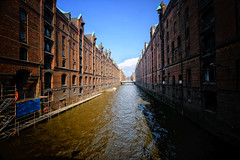 Speicherstadt in Hamburg, Germany (` Toshio ') Tags: toshio hamburg germany europe german europeanunion canal river speicherstadt hafencity building architecture perspective fujixt2 xt2