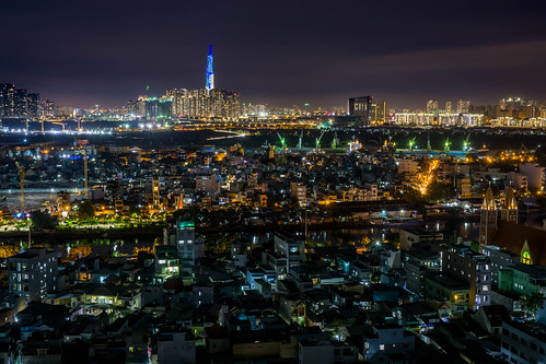 Ho Chi Minh City Night Long Exposure with Landmark 81 in Blue