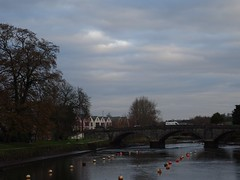 Autumn morning sky over Totnes Bridge (Phil Gayton) Tags: water tree grass sky building bridge cloud vire island river dart totnes devon uk