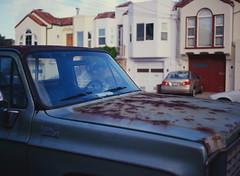 Sunset District // San Francisco (bior) Tags: pentax645nii pentax645 pentax 645 kodakfilm kodak kodaklumiere lumiere slidefilm mediumformat 120 sanfrancisco sunsetdistrict truck car hood windshield rust customdeluxe