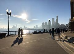 Navy Pier in Chicago, Illinois (` Toshio ') Tags: toshio chicago illinois city navypier couple people tourists sun pier skyscraper usa america iphone sillhouette