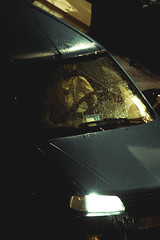 Cool blue (matteoguidetti) Tags: rain car pioggia auto cool blue night city urban woman standing dark notte wash