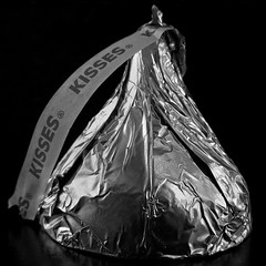 Kiss Kiss (arbyreed) Tags: arbyreed macromondays square monochrome kiss hersheykiss chocolate hersheychocolate foil blackandwhite close closeup centersquarebw