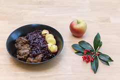 Traditional beef stew with apple beetroot salad and potato dumplings with a twig and an apple on a wooden table (verchmarco) Tags: diet food closeup delicious isolated fresh background healthy white noperson keineperson lebensmittel wood holz fruit obst health gesundheit köstlich leaf blatt apple apfel nutrition ernährung ingredients zutaten stilllife stillleben cooking kochen table tabelle rustic rustikal gesund nature natur bowl schüssel wooden hölzern traditional traditionell desktop fish christmas animals sunshine colorful boeing india balance lights duck