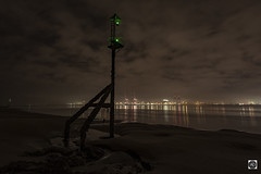 The Silence of the Lamps (A Boxing day serenity) (alundisleyimages@gmail.com) Tags: rivermersey night reflections beacon industry clouds liverpool newbrighton sand longexposure lowtide cranes maritime shipping england uk