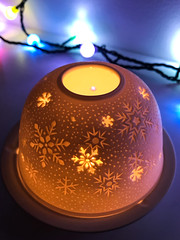 365.358 - Waiting... (AmyGStubbs) Tags: 2018 24dec18 365the2018edition 3652018 candle christmas day358365 lights iphone7