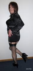 Backstop (janegeetgirl2) Tags: transvestite crossdresser crossdressing tgirl tv ts trans jane gee stockings heels ankle boots leopard animal skin black satin blouse rht corset girdle