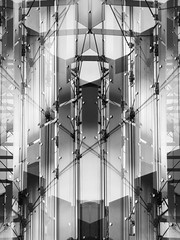 People Who Walk on Glass Staircases Should Step Lightly (Steve Taylor (Photography)) Tags: glass wire metal symmetry architecture digitalart window stairs staircase steps monochrome blackandwhite newzealand nz southisland canterbury christchurch city pattern lines curve transparency transparent