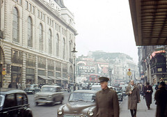 Piccadilly and Piccadilly Circus, London, around 1955-56. (allhails) Tags: london piccadillycircus rebelwithoutacause jamesdean piccadilly 1955 1956