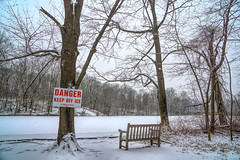 Danger (JMS2) Tags: bench sign park scenic trees landscape winter snow lake pond reservoir