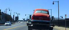 Red Ford (PAJ880) Tags: shoebox ford red flatbed sky blue everett ma