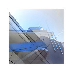 ...sketch with lines in blue (claredlgm1) Tags: architecture diagonal lines construction cross blue plastic design modern abstract details layers