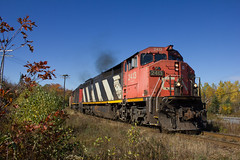 Wide Angle Zebra - Windsor Junction, NS (CWentzell Photography) Tags: cn canadiannational canada novascotia dartmouth sub subdivision bedford rail railroad railway freight train track motivepower locomotive locomotives engine engines ge cowl draper taper blue sky landscape halifax windsorjunction ocs ctc fall autumn 2018 october gypsum loads loaded