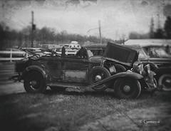 Rag Top  (FILM) (* Gemini-6 *) Tags: convertible packard grunge rust patina decay car show automobile vehicle monochrome blackandwhite