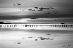 Back Packing...   (Explore 18/01/2019) (Sue Sayer) Tags: leefilter polariser marinelake weston somerset walking bw causeway islans steepholm breandown cloud reflections
