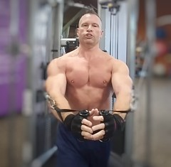 cable flys for pecs (ddman_70) Tags: shirtless pecs abs chest gym muscle workout