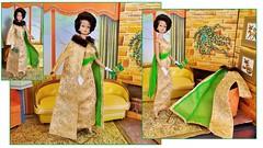 GOLDEN GLORY (ModBarbieLover) Tags: 1965 1966 mattel dream house brunette bubblecut bend leg doll fashion golden glory vintage barbie gold green evening gown coat fur brocade