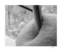 Collar (agianelo) Tags: snow metal pipe winter abstract texture monochrome bw bn blackandwhite