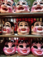 Chinese clown masks (SM Tham) Tags: asia southeastasia malaysia kualalumpur midvalley shoppingmall chinese chinesenewyear display liondance clown mask handmade painted heads faces shelf smiling happy