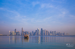 Doha Skyline (Mohamed Rimzan) Tags: doha qatar canon 1740mm canon77d morning blue sky dhow sea