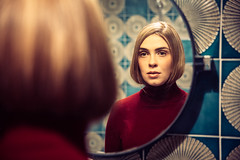 Mrs. Maisel (dawolf-) Tags: vintage girl woman mirror bathroom dressing makeup portrait headshot reflection shapes tiles 70s 60s 50s old blonde indoor haircut actress vienna