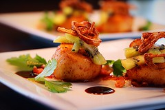 Seared scallops with fried shallots, kiwis and bacon. (corineouellet) Tags: seafood kiwis bacon plating focus details composition inspiration canonphoto foodphoto delicious delish tasty yumyum yummy cooking cook good foodie foodies food scallops