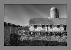 Old New England Barn (windshadow2) Tags: barn new england rural farm black white silo rustic preservation deterioration texture shingles landscape