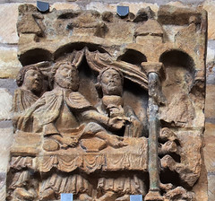 Romanesque north front frieze panel fragment, c1130 - Lincoln Cathedral,  England. (edk7) Tags: olympuspenliteepl5 edk7 2016 uk england lincolnshire lincoln lincolncathedral cathedralchurchoftheblessedvirginmaryoflincoln stmaryscathedral chapelofstjames englishdecoratedgothic cathedral church norman romanesque friezepanel fragment westsidenorthfrontexterior bishopalexander112348 sculpture stonecarving architecture building oldstructure gradeilisted art atrwork medieval feastofdives lazarusanddives richmanandlazarus artwork