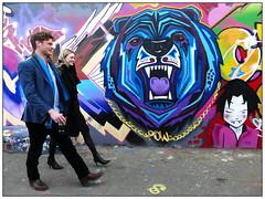 Blues and Twos (donbyatt) Tags: shoreditch bricklane urban walls spraycans graffiti streetart candid people couples