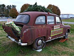 a Special delivery 🎄🎁 (Dave* Seven One) Tags: hackneycarriage londoncab londontaxi blackcab vintage classic graymarket rusty rust rotted junk dead broken used prop decoration antiques antiquestore roadside christmastree englishcab
