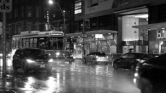 075 -1crpvibbwfwlcon (citatus) Tags: eastbound ttc streetcar 4004 carlton street yonge route 506 rain rainy fall evening 2018 bw pentax k3 ii