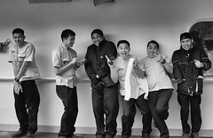 Ship crew in the best mood ;-)) (Zoom58.9) Tags: people human ship crew posing bw canon eos 50d portrait group