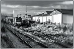 Elgin Train (Tom McPherson) Tags: train elgin mono black white moray lines tracks industrial station sony a6000 emount street franzis diesel tom mcpherson 2019 urban 32mm zeiss prime explore rural