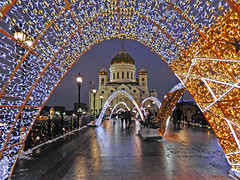 New year in Moscow (janepesle) Tags: russia moscow architecture bridge illumination decoration light night city cityscape travel outdoors urban church orthodox