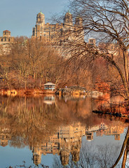 Central Park Winter (joiseyshowaa) Tags: ny nyc new york city coop condo condominium prewar architect emery roth manhattan reflection lake calm water blue sky seasons leaf leaves leafless trees architecture