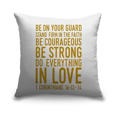 Corinthians 16 13 14 Scripture Art In Gold And White Handlettered Bible verse reading Be on your guard; stand firm in faith; be courageous, be strong; do everything in love.   Check out our website: https://spaceplug.com/1-corinthians-16-13-14-scripture-a (spaceplug) Tags: gift love bible canvas shop marketplace spaceplug like buy sell happy like4like nice home products amazing followus decor pillow canvasdemand style follow4follow