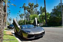 Beverly Hills Supercar : Enjoy ! (MANETTINO60) Tags: lamborghini aventador roadster los angeles beverly hills supercar v12 cabriolet cab doors open usa california rodeo drive road street grey exotics front car