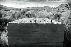 Tower Foundation (dwblakey) Tags: california owensvalley blackandwhite outside monochrome easternsierra bishop history outdoors mountains inyocounty concrete junk structures unitedstates us