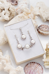 Jewelry set of elegant silver earrings, ring and pendant necklace with pearl and diamonds in gift box on coral (Aleksa Torri) Tags: pearl white background silver jewelry gem decoration fashion diamond precious jewel female gift luxury accessory antique bead bride brilliant concept copyspace crystal elegance gemstone gray holiday jewelery nobody nuptials object present romantic treasure valentine vintage wedding whitegold summer beach jewellery sea earrings shopping beige pendant necklace ring coral box set
