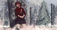 Thinking Out Loud (Lil' Mersereau) Tags: svp sonyv red snow winter tree girl portrait