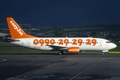 G-EZYA EasyJet Boeing 737-3T0 at Glasgow in October 1998 (Zone 49 Photography) Tags: aircraft airliner airlines airport aviation plane 1998 gla egpf glasgow internationalabbotsinch scotland u2 ezy easyjet boeing737 boeing 737 300 3t0gezya