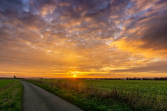 Cotswolds Sunset (alexjorgejackson) Tags: cotswolds sunset sky clouds northleach art sony alpha a6000 simga 16mm f14 road countryside england uk britain farm