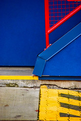 Primary attraction (James_D_Images) Tags: primary colours red blue yellow abstract architecture stairs railing wall sidewalk lines concrete grid pattern granvilleisland vancouver britishcolumbia
