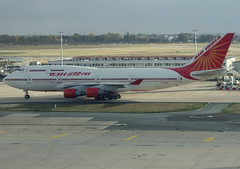 """VT-EVB, Boeing 747-437, 28095 / 1093, Air India, """"Velha Goa"""", ORY/LFPO 2018-11-09, taxiway Whisky 1, on arrival with Prime Minister Narendra Modi and official delegation on board. (alaindurandpatrick) Tags: vtevb 280951093 747 744 747400 boeing boeing747 boeing747400 jumbojets jetliners airliners ory lfpo parisorly airports aviationphotography ai airindia airlines"""